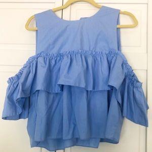 Zara light blue ruffle cold shoulder sz XL